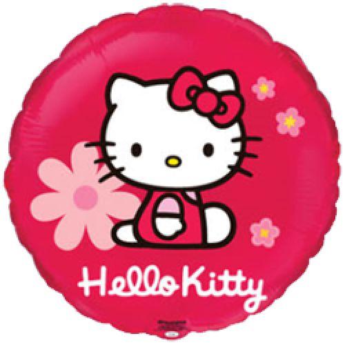 Ф. Круг (с рис) (18''/46 см) Девочки - Hello Kitty Котенок в цветах -; Красный