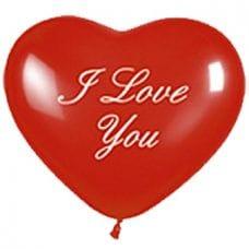 Л. Сердце (с рис) (12''/30 см) Романтика1 - I Love You -; Красный; пастель
