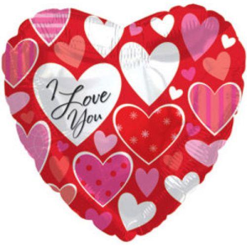 Ф. Сердце (с рис) (18''/46 см) - Я люблю тебя (разные сердечки) -