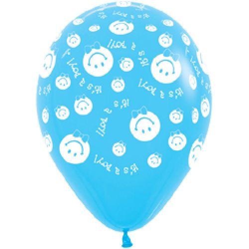 Л. Шар (с рис) (12''/30 см) Новорожденные мальчики - Улыбка Мальчик -; Светло-голубой