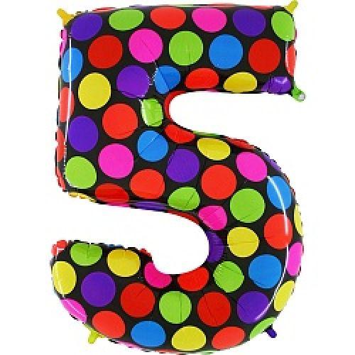 "Ф. Цифра (40''/102 см) Цифры - ""5"" -; Супер Яркий"
