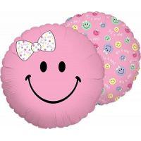 Ф. Круг (с рис) (18''/46 см) Новорожденные девочки - Смайл девочка -; Розовый