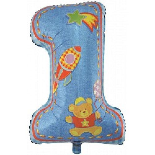 Ф. Цифра (34''/86 см) Новорожденные мальчики - Первый день рождения, Мальчик -; Голубой