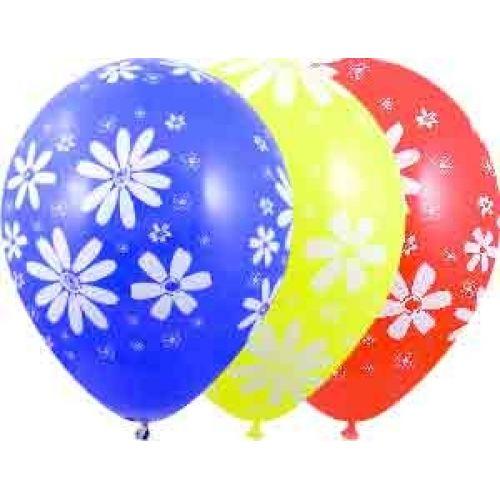 Л. Шар (с рис) (12''/30 см) Цветы1 - Ромашки -; Ассорти; пастель
