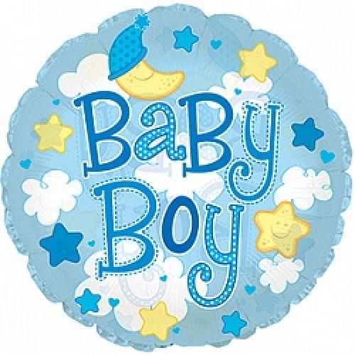 Ф. Круг (с рис) (24''/61 см) Новорожденные мальчики - Малыш-мальчик (облака) -; Голубой