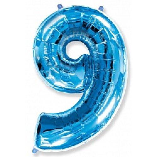 """Ф. Цифры (40''/102 см) Цифры - """"9"""" (без звезд) -; Синий"""