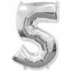 "Ф. Цифры (40''/102 см) Цифры - ""5"" -; Серебро"