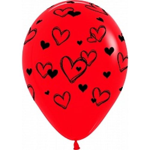Л. Шар (с рис) (12''/30 см) Романтика2 - Набросок Сердец -; Красный