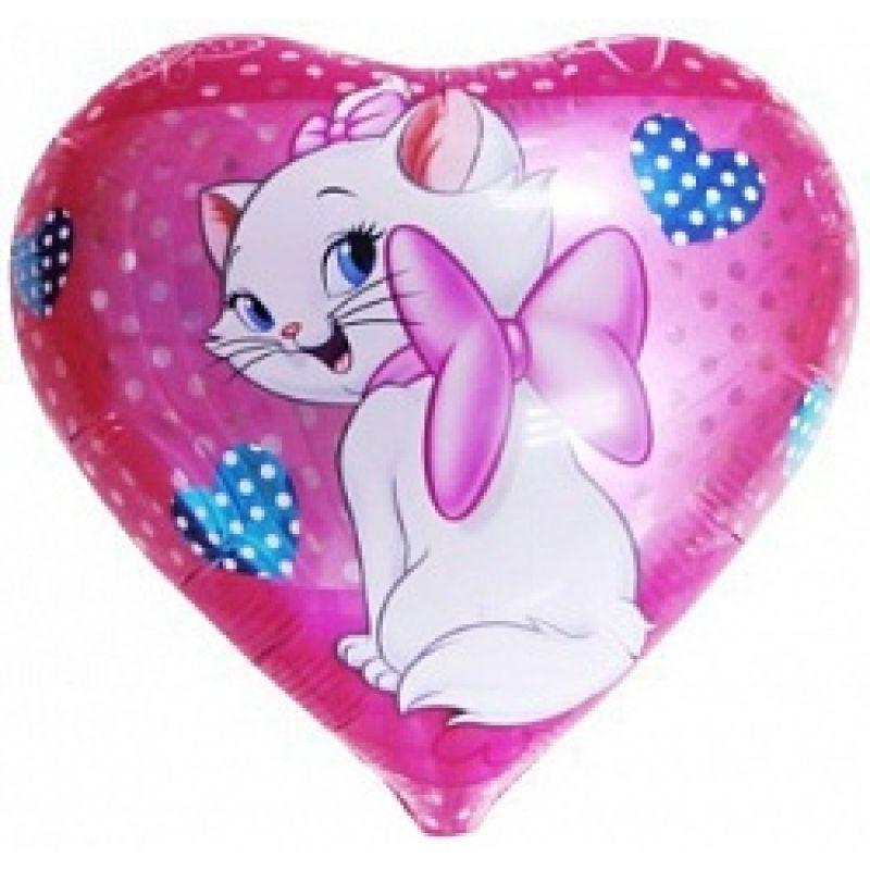 Купить Ф. Сердце (с рис) (18''/46 см) Девочки - Кошка с ...