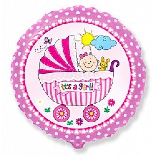 Ф. Круг (с рис) (18''/46 см) Новорожденные девочки - Детская коляска для девочки -; Розовый