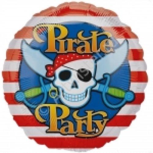 "Ф. Круг (с рис) (18''/46 см) Мальчики - Череп пирата ""Pirate party"" -"