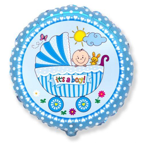 Ф. Круг (с рис) (18''/46 см) Новорожденные мальчики -  Детская коляска для мальчика -; Синий