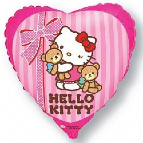 Ф. Сердце (с рис) (18''/46 см) Девочки - Hello Kitty Котенок лучшие друзья -; Розовый