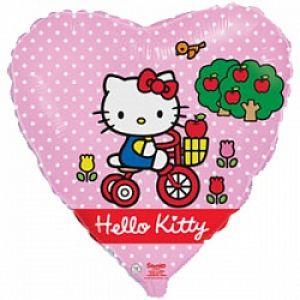 Ф. Сердце (с рис) (18''/46 см) Девочки - Hello Kitty Котенок на велосипеде -; Розовый