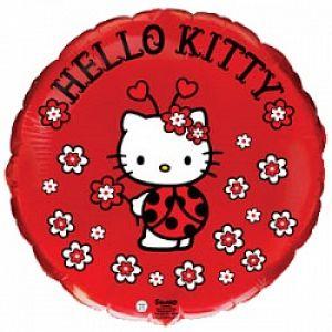 Ф. Круг (с рис) (18''/46 см) Девочки - Hello Kitty Котенок божья коровка -; Красный
