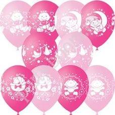 Л. Шар (с рис) (12''/30 см) Новорожденные девочки - С Днем Рождения Малыш Ассорти -; Розовый