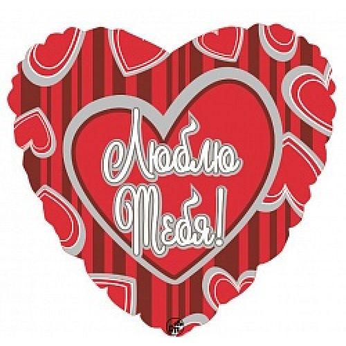 Ф. Сердце (с рис) (18''/46 см) - Люблю тебя (безумные сердца) -; Красный