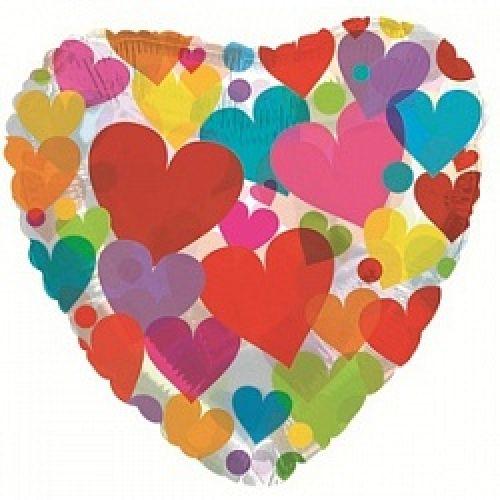 Ф. Сердце (с рис) (18''/46 см) - Сердце с разноцветными сердечками -; Прозрачный