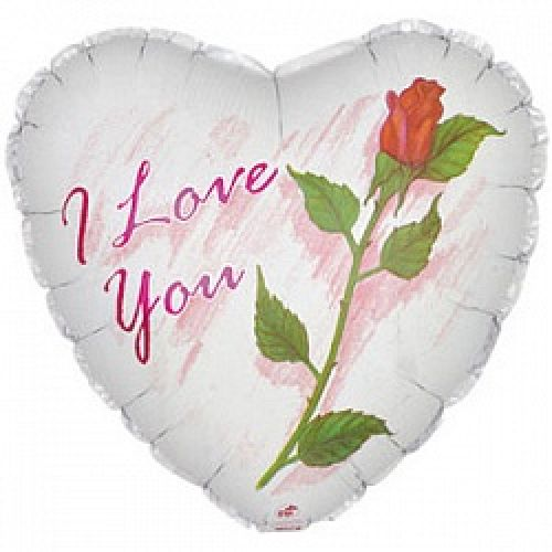 Ф. Сердце (с рис) (18''/46 см) - Я люблю тебя (роза) -; Белый