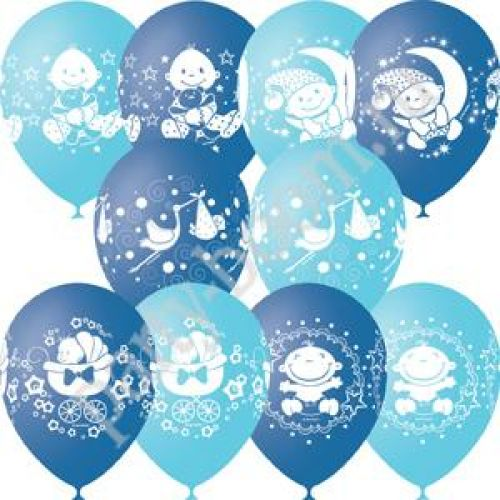 Л. Шар (с рис) (12''/30 см) Новорожденные мальчики - С Днем Рождения Малыш -; Светло-голубой