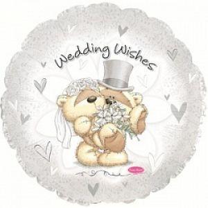 Ф. Круг (с рис) (18''/46 см) Свадьба - Свадебные пожелания -; Белый
