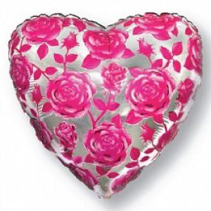 Ф. Сердце (с рис) (18''/46 см) Любовь - Розы -; Фуше