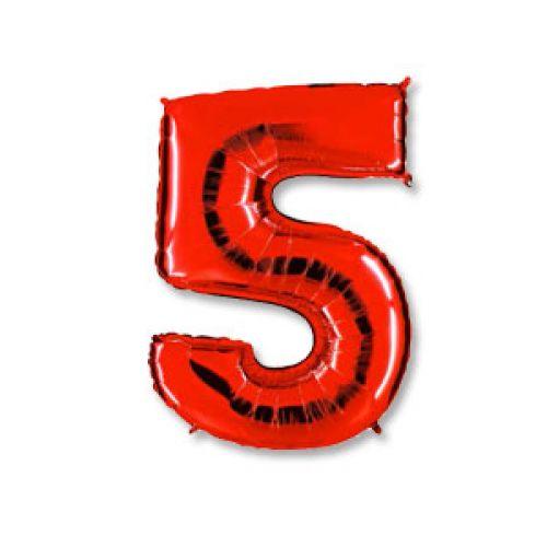 """Ф. Цифра (40''/102 см) Цифры - """"5"""" -; Красный"""
