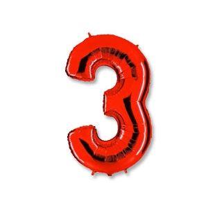 """Ф. Цифра (40''/102 см) Цифры - """"3"""" -; Красный"""