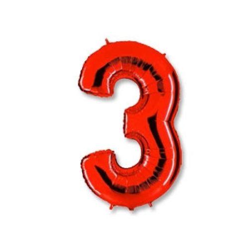 "Ф. Цифры (40''/102 см) Цифры - ""3"" -; Красный"
