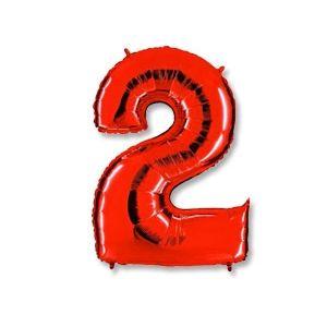 """Ф. Цифра (40''/102 см) Цифры - """"2"""" -; Красный"""