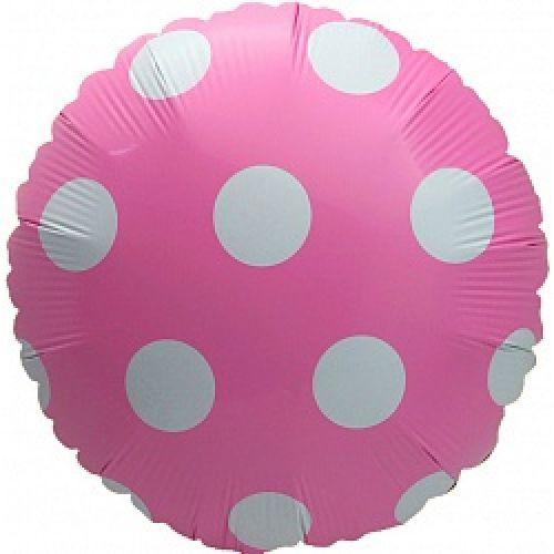 Ф. Круг (с рис) (18''/46 см) Новорожденные девочки - Большие точки (горох) -; Розовый