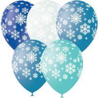 Л. Шар (с рис) (12''/30 см) Новый Год - Снежинки -; Ассорти Голубой/Синий