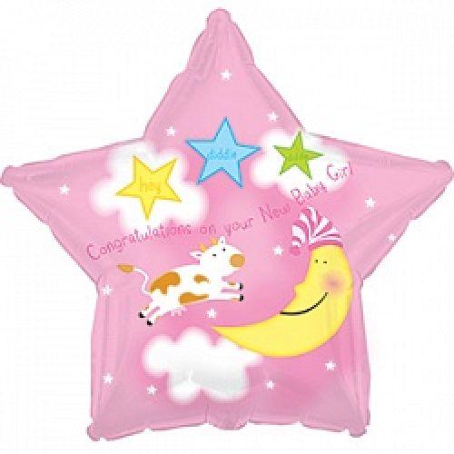 Ф. Звезда (с рис) (18''/46 см) Новорожденные девочки - С рождением Девочка (Луна и Корова) -; Розовы